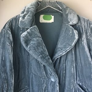 ANTHROPOLOGIE Velour Puffer Jacket Sz S